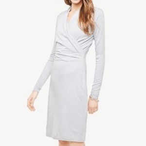 Ann Taylor Dress Gray Faux Wrap Long Sleeve Sheath